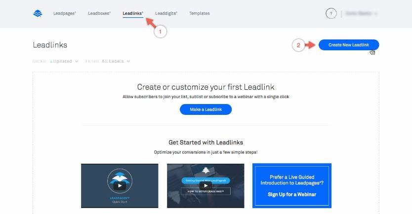 LeadLink, l'option de réinscrition sur LeadPages