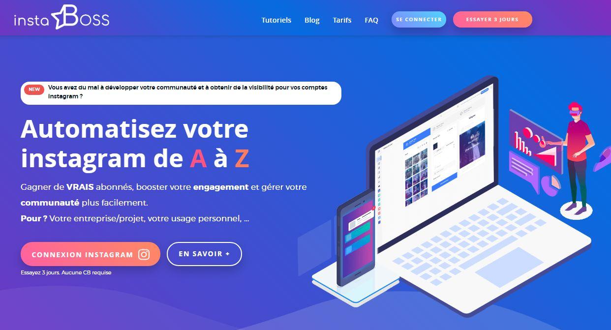 Instaboss, l'outil français pour l'automatisation de votre compte Instagram